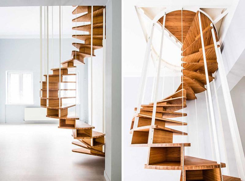پله گرد چوبی شناور کم جا