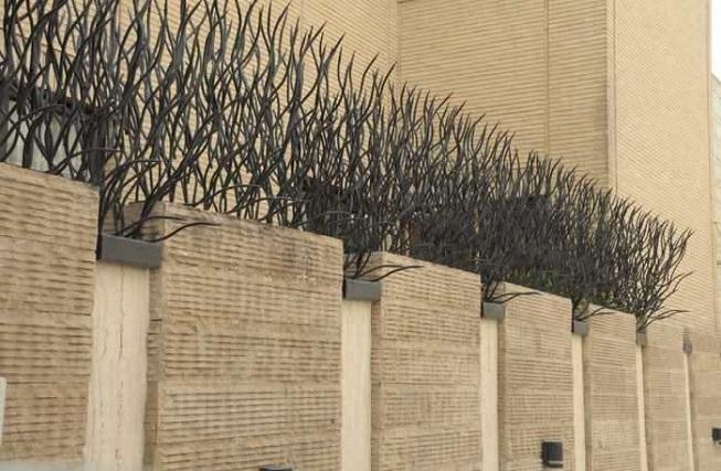حفاظ روی دیوار حیاط